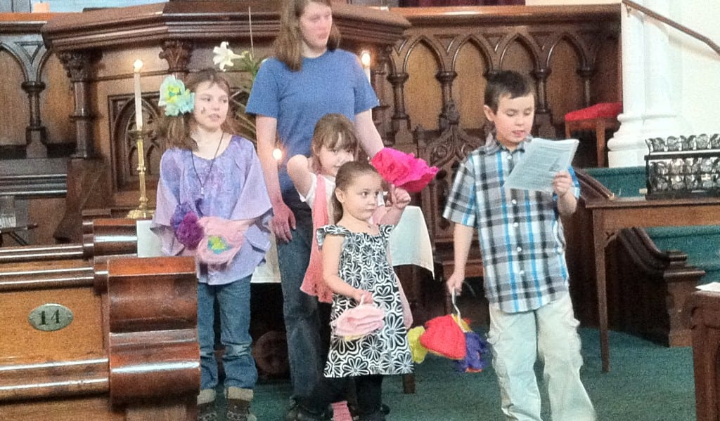 Some children from our RE program performing during the Easter Service 2013